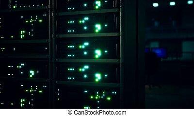 industriel, données, intérieur, salle, propre, serveur, serveurs