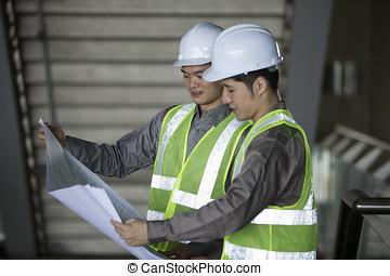 industriel, engineer's, deux, work., asiatique