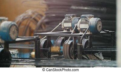 industriel, engrenage, chaîne, tourné, -, partie,...