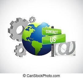 industriel, engrenage, nous, signe, contact, courrier