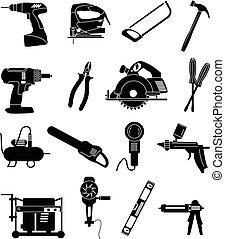 industriel, ensemble, icônes