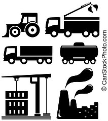 industriel, ensemble, isolé, objets