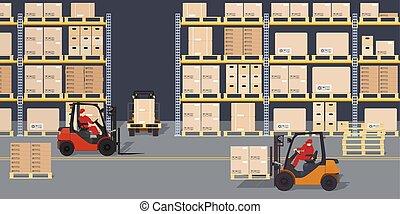 industriel, entrepôt, forklifts., process., scene., boîtes, logistique, entrepôt, containers., etagères, vue
