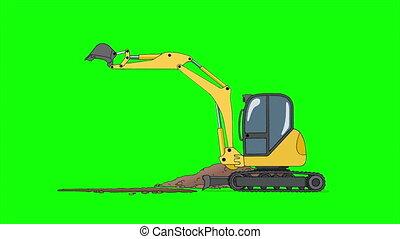 industriel, excavateur, écran, isolé, vert, creuser, trou