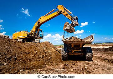 industriel, excavateur, camion, chargeur, en mouvement, la...