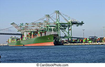 industriel, facility., long, californie, plage, port