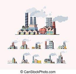 industriel, factory., pollution atmosphérique, images, bâtiments, fabrique, plat, vecteur