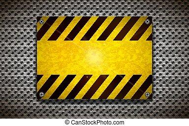 industriel, fond, signe jaune, avertissement, gabarit, vide, grille, métallique