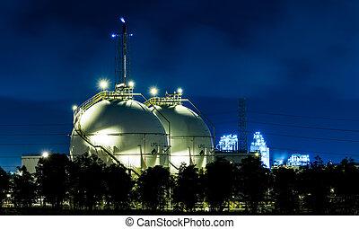 industriel, gas, lagring, sphere, tanke, lpg