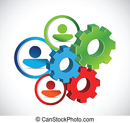 industriel, gears., concept, avatars, illustration