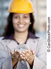 industriel, globe, ingénieur, tenue, femme