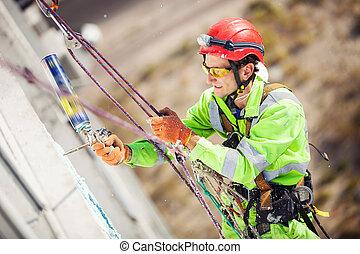 industriel, grimpeur, pendant, winterization, travaux