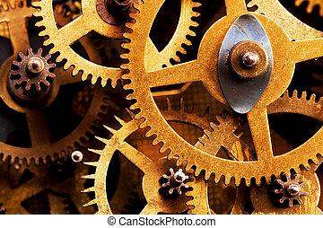 industriel, grunge, technology., engrenage, rouage horloge,...