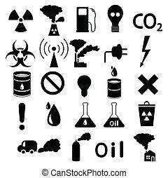 industriel, hasardeux, ensemble, pollution, icons: