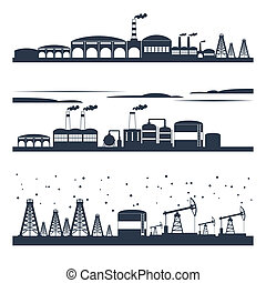 industriel, horizon ville, bannières