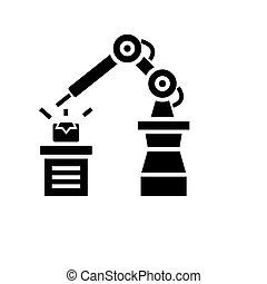 industriel, illustration, isolé, automation, vecteur, arrière-plan noir, icône, signe