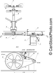 industriel, ingénierie, dessin, ventilateur, moteur