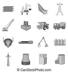 industriel, ingénierie, icônes, ensemble