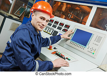 industriel, ingénieur, ouvrier, à, panneau commande