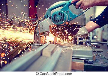 industriel, ingénieur, travailler, découpage, métal, et, acier