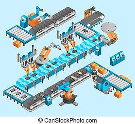 industriel, isométrique, concept, robot