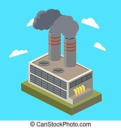 industriel, isométrique, vecteur, usine, illustration