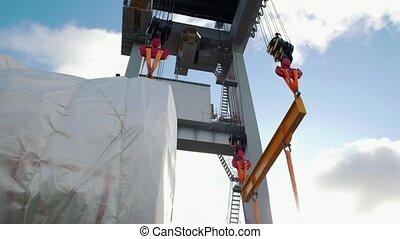 industriel, machine, -, expédition, levage, grand, cargaison