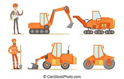 industriel, machines, ouvriers, bulldozer, uniforme, route, tracteur, construction, excavateur, vecteur, ensemble, illustration