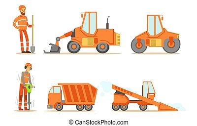 industriel, machines, ouvriers, lourd, bulldozer, uniforme, route, camion, paver, tracteur, ensemble construction, vecteur, illustration