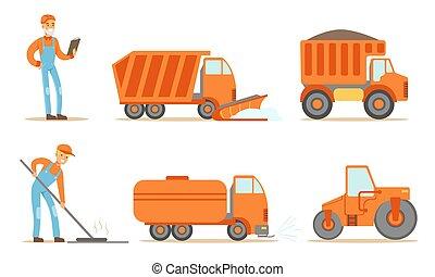 industriel, machines, ouvriers, lourd, uniforme, route, camions, tracteur, ensemble construction, vecteur, illustration
