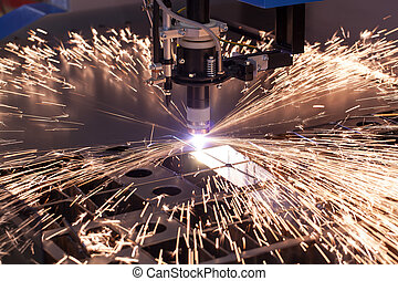 industriel, maskine, by, plasma, skær