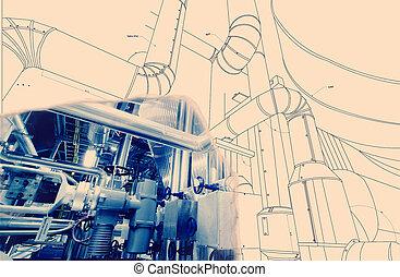 industriel, moderne, wireframe, puissance, informatique, conception, cao, canalisations, plante