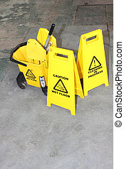 industriel, nettoyage, signes
