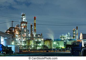 industriel, nuit, vue