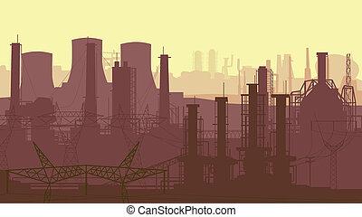 industriel, partie, city.