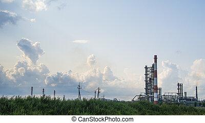 industriel, paysage, de, raffinerie pétrole