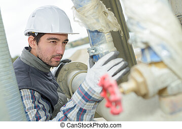 industriel, pipework, inspection, homme