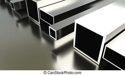 industriel, plaque, render, formé, roulé, métal, fond, 3d, tubes, briller