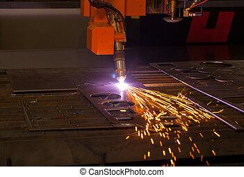 industriel, plasma, machine découpage