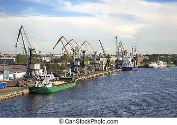 industriel, port, fret