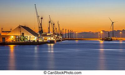 industriel, port, scène nuit