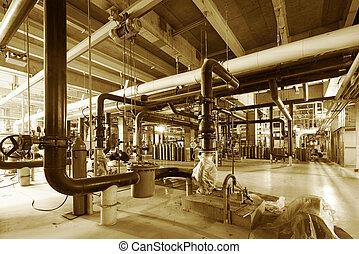 industriel, puissance, intérieur, équipement, tuyauterie, trouvé, câbles