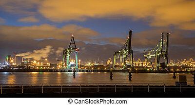 industriel, quai, port, grues, chargement, nuit