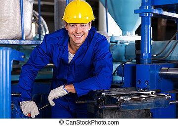 industriel, réparateur, dans, plante