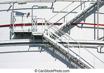 industriel, réservoir, escalier