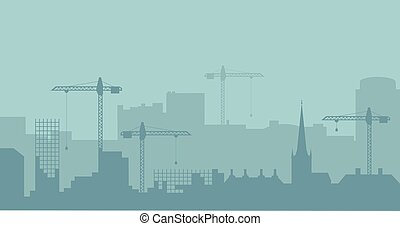 industriel, résumé, silhouette., panoramique, vecteur, illustratuion, skyline., construction, paysage