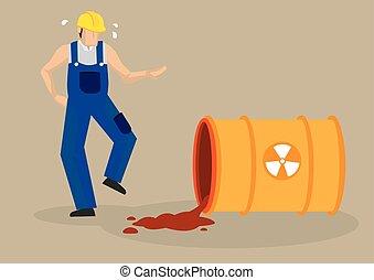 industriel, radioactif, accident, renverser, illustration, vecteur, lieu travail