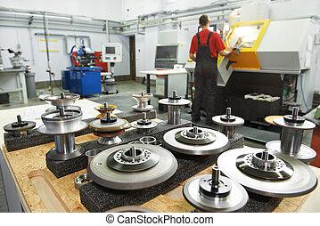 industriel, redskaberne, hos, værksted