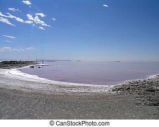 industriel, restes, à, les, rivage, de, grand lac sel, utah, etats unis, comme, vagues, recouvrement, sur, a, gentil, day.