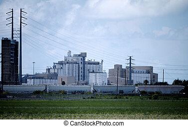 industriel, ris, produktion, facilitet